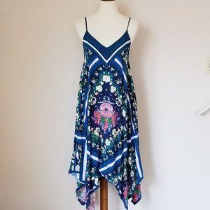 Flying Tomato Blue Floral Handkerchief Flowy Dress